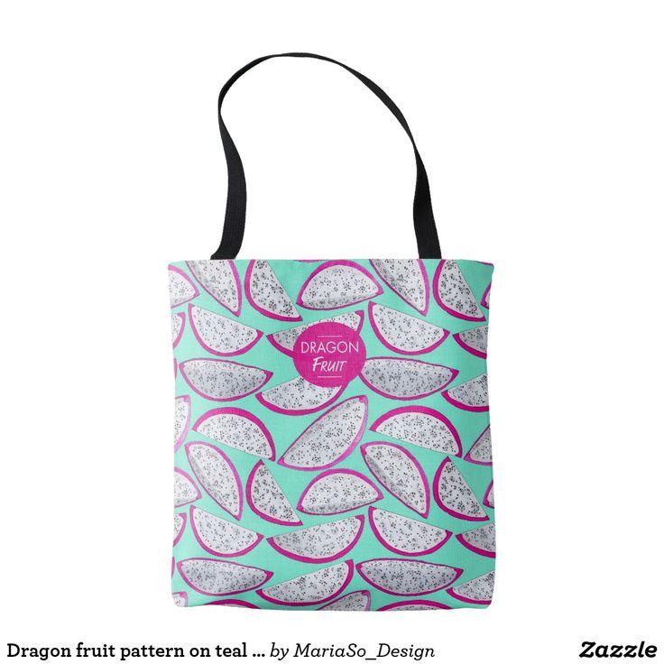 Dragon fruit pattern on teal background tote bag