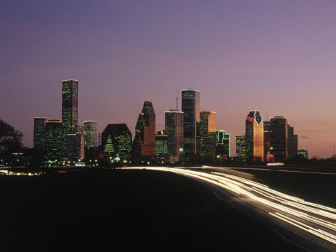 Night Skyline, Houston, Texas Photographic Print by Kevin Leigh at AllPosters.com