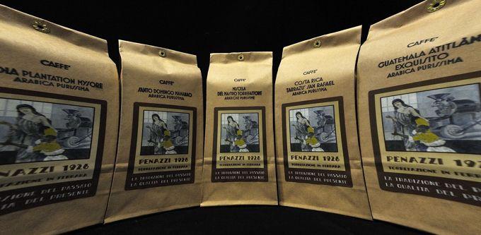 Hand made 250 grams Coffee bags, Caffè Penazzi's some Arabica single Origins and blend. Logo ©Artlife Caffè