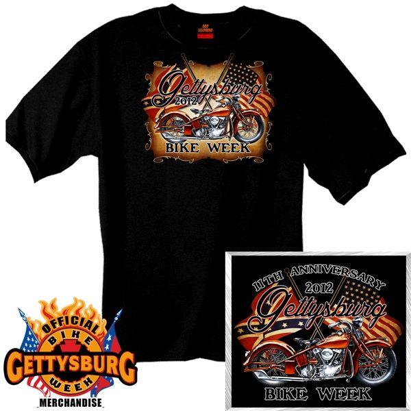 Official 2012 Gettysburg Bike Week Timeless Black T Shirt Hot
