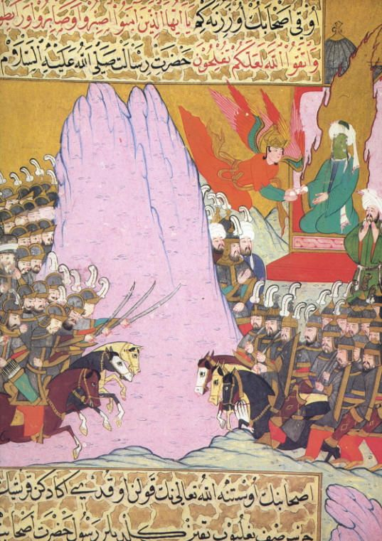Siyar al-nabi, Muhammad receives a revelation from Jibril during the battle of Badr