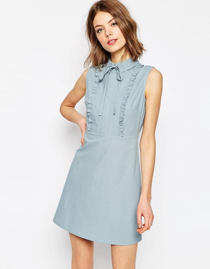 ASOS | ASOS Frill Front Mini Shirt Dress at ASOS
