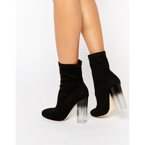 Truffle Collection Theda Sock Clear Heeled Ankle Boots ($57) ❤ liked on Polyvore featuring shoes, boots, ankle booties, black, clear-heel boots, pull on ankle boots, slip on ankle boots, almond toe boots and perspex heel boots