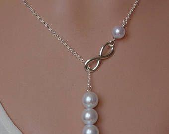 Venta plata lariat infinito collar infinito lariat perla collar de Dama de honor la gota collar de perlas perla infinito collar de perlas de Dama de honor