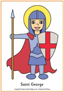 Saint George's Day for Kids (Apr 23), learn about England's customs and traditions, knights, castles, dragons, and William Shakespeare (born and died on April 23!), etc.