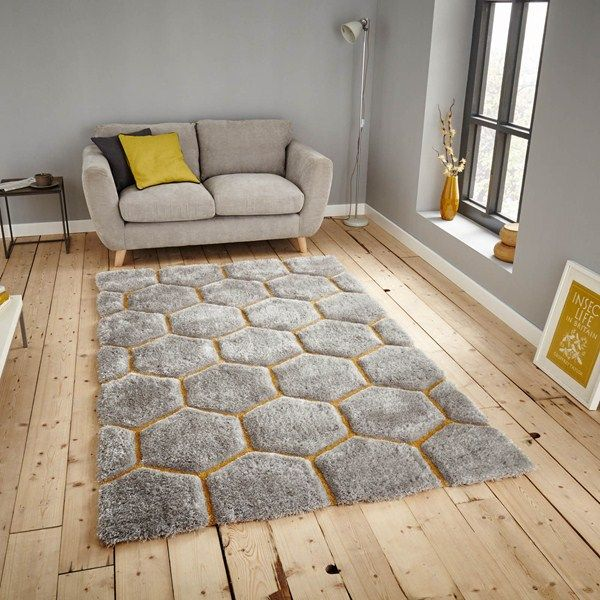 Noble House Rugs Are Handmade In China With A Deep Acrylic Pile The Luxurious Grey Is Hand Carved To Enhance Stylish Yellow Hexagon Design That