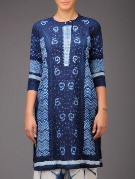 Indigo Abstract Shibori-Dyed Cotton Tunic