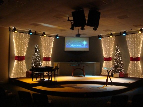 drapes and curtain packed christmas church stage design ideas they added some noid gift theme living room window treatments christmas curtains style - Church Stage Design Ideas