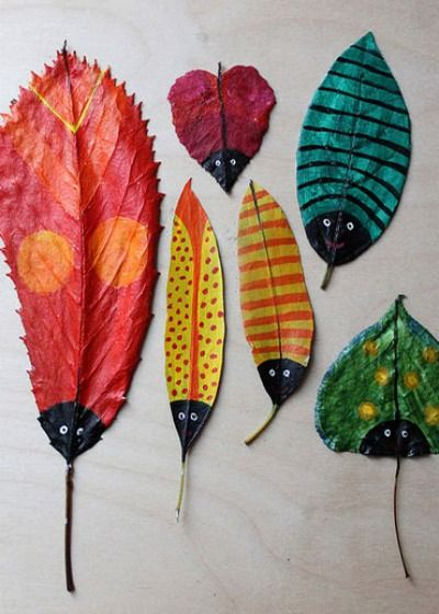 Gather some unique leaves and let the kids get creative and paint some fun bugs :)