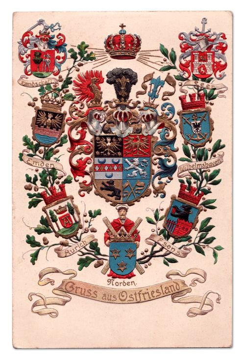 """""""Gruss aus Ostfriesland"""" - Gorgeous postcard displaying the various Coats of Arms for Ostfriesland, where my family is from!"""