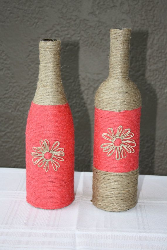 Set of 2 Custom Wrapped Wine Bottles Twine. by DragonflyDaisies