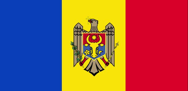 The Moldova flag was officially adopted on May 12, 1990.           Once part of Romania, Moldova's flag reflects that association, as the two countries use almost identical shades of red, yellow and blue in their national flags. The centered Moldova shield's main feature is a golden eagle holding an Orthodox Christian cross in its beak. The olive branch is said to symbolize peace.