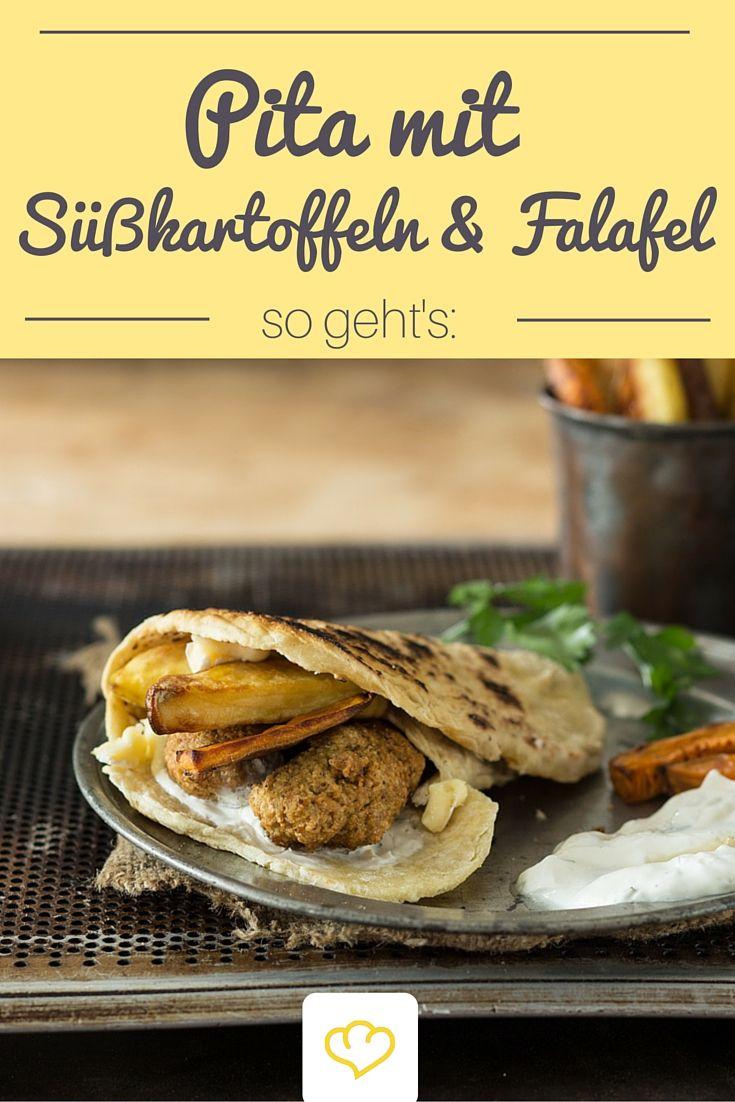 Fast Food Deluxe für Zuhause: Pita mit Süßkartoffel-Pommes, Falafel und Tzaziki