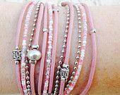 Bracelet en cuir Bracelet Wrap, sensibilisation au Cancer du sein, ruban de l'espoir