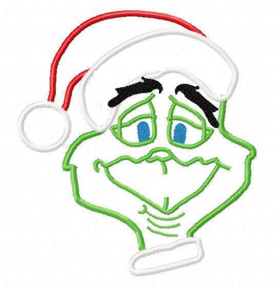 Grinch christmas applique machine embroidery by