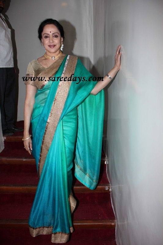Latest Saree Designs: hema malini in green designer shimmer saree