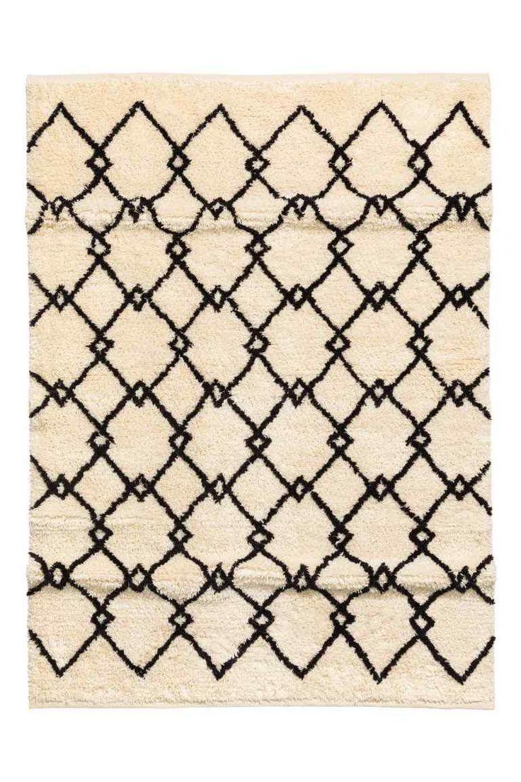 Gyapjúkeverék szőnyeg - Fehér/szürke mintás - HOME | H&M HU 1