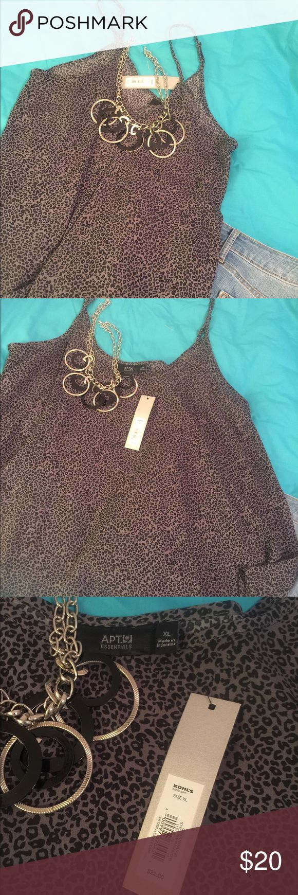 NWT-animal print cami top Black/gray, animal print, NWT, cami with rounded, flowy bottom. This top would be great worn alone or with a cardigan, great with blue, black jeans, or slacks. Make a GREAT complete outfit with accessories from my closet and get a super discount‼️ Apt. 9 Tops