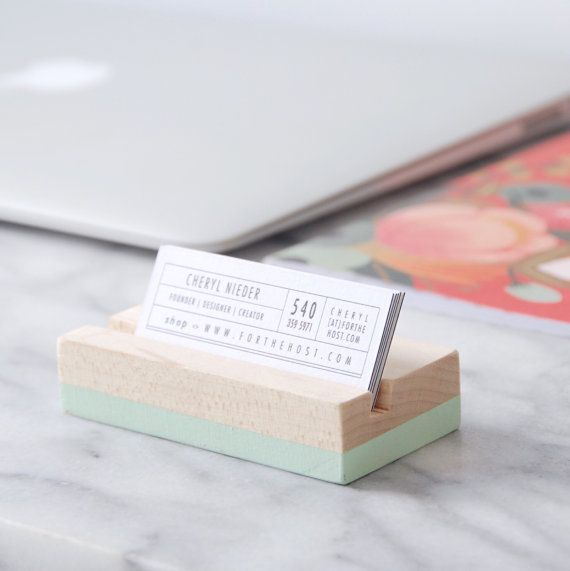 Hand Made and Hand Painted Solid Wood Business Card holder The perfect desk accessory with a pop of color!  Please inquire about matching brand colors