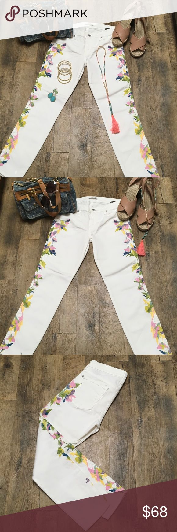 "SEVEN 4 all MANKIND White JEANS detail🌺🌸🌼💐27 SEVEN for all MANKIND spandex cotton stretch white trending Floral Embroidered jeans. 🌸🌺💐💐🌸🌺🍃Straight LEG....Size 27... 8"" rise from waistband to crotch.....27"" inseam....PINK, PURPLE, YELLOW, GREEN, BLUE SAGE, CHARTREUSE....FUN💐💐 Seven for all mankind Jeans Skinny"