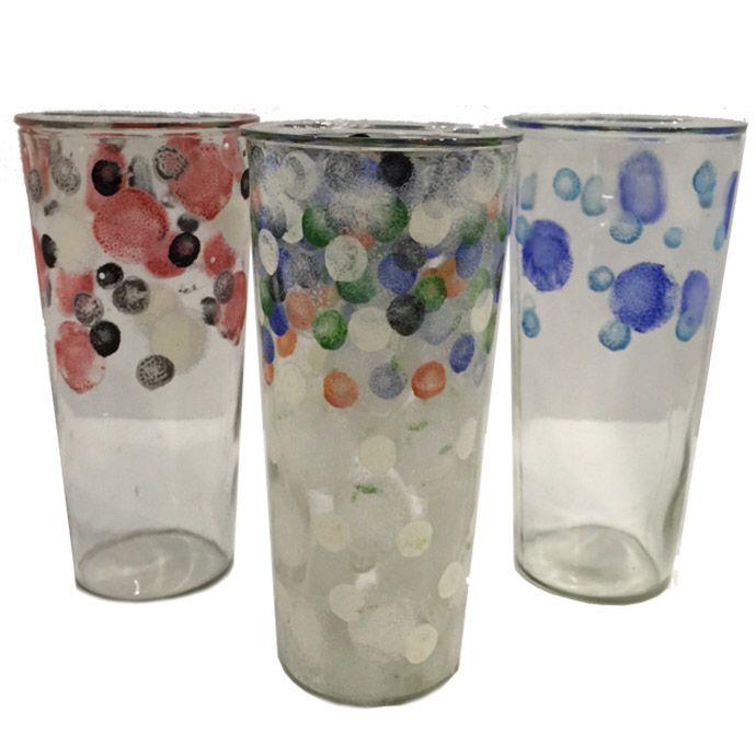 Handpainted glass vase fleria.gr