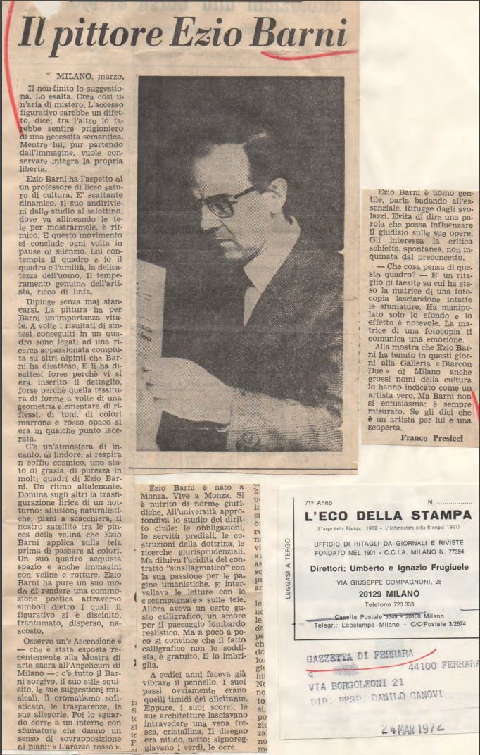 Ritaglio Storico del 1972 - Ezio Barni