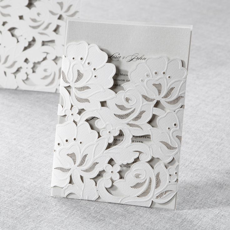Floral Laser Cut with Embossing - Wedding Invitations