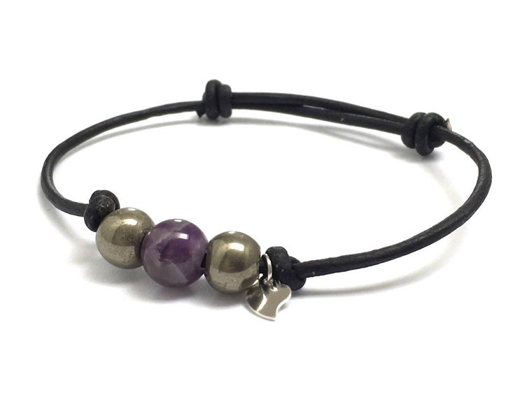 Be My Valentine Sterling Silver Heart Charm Leather Bracelet! Ultra violet amethyst, pyrites gemstones! Perfect gift to show your love! #ultraviolet #amethyst #Valentine #giftforher # giftideas #fashionblogger