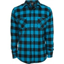 URBAN CLASSICS CHECKED BLACK TURQUOISE FLANELL SHIRT