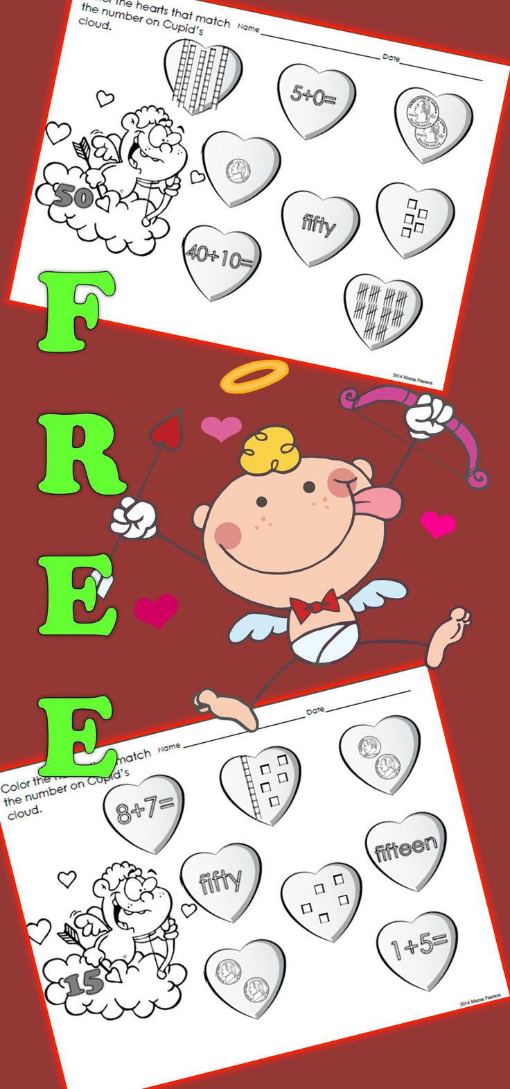 10 ready to use time saving printables that will help your students review numbers, number words, tally marks, money, and adding. Your students see a number on Cupid's cloud and color hearts that have corresponding representations of that number.