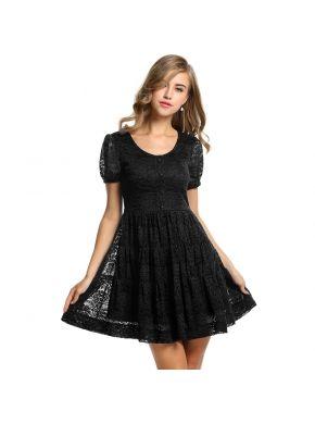 Siyah Meaneor Kadın Kısa Kollu Dantel Çiçekli Hakiki Çıkıyor Elbiseler