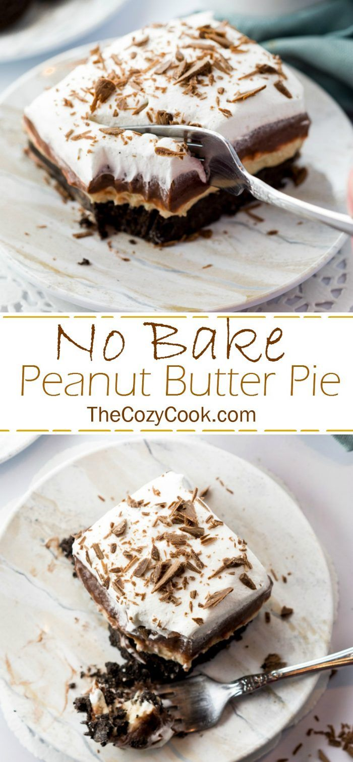 This no bake Peanut Butter Pie has a sweet and buttery Oreo crust topped with layers of chocolate pudding and whipped peanut butter filling. It's then topped with bits of shaved chocolate and is serve chilled.| The Cozy Cook | #dessert #chocolate #peanutbutter #pie #nobake #chocolate #sweet