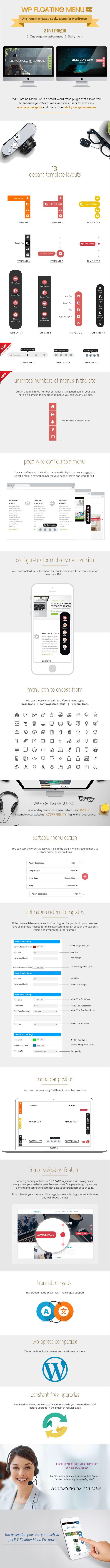 WP Floating Menu Pro - One page navigator, sticky menu for WordPress by AccessKeys