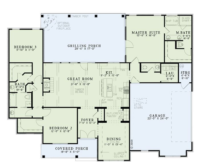 country craftsman ranch traditional house plan 61297 - Best House Plans