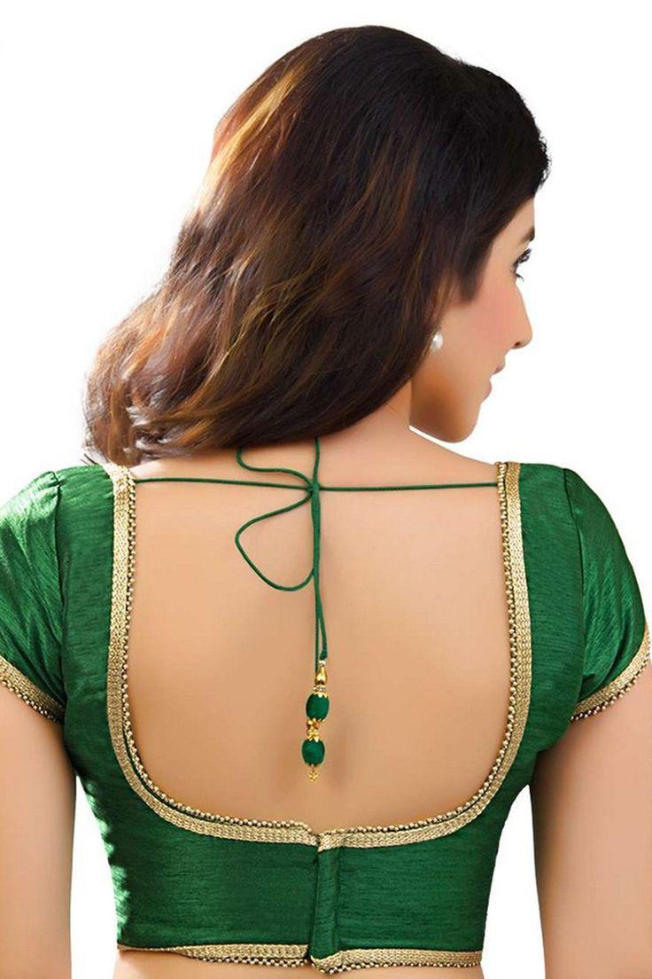Dark #green designer raw #silk #blouse with back deep u neck -BL748