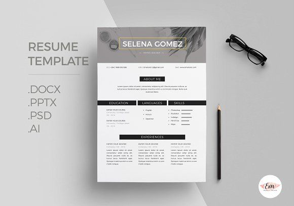 Modern 1 Page Resume Template by Emaholic Templates on @creativemarket