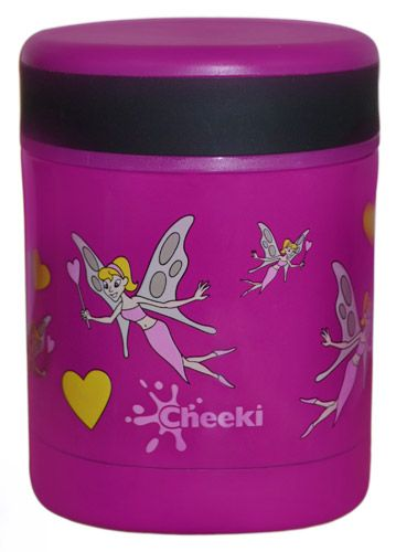 This sweet fairies themed Cheeki Food Jar is made out of a premium grade of Stainless Steel. Cheeki Food Jars are completely BPA-Free .. An insulated design means food will stay warm or cool for up to 5 hours!!