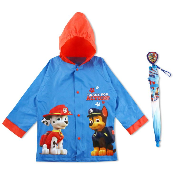 Nickelodeon Little Boys Paw Patrol Raincoat and Umbrella, Blue, 6-7. 2-Piece matching rainwear set includes rain slicker and child-friendly umbrella featuring Chase and Marshall from Nickelodeon Paw Patrol with the words ready for action. Red and blue rain slicker made of durable 100% vinyl water repellent material that is resistant to moisture and humidity. Red hood and trim with yellow snap closures. Matching red and blue 8-panel umbrella made of lightweight and durable 100% polyester....