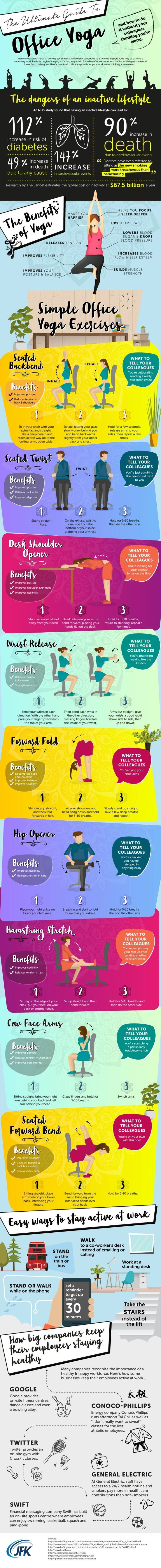 9 Yoga Poses You Can Do At Your Desk Without Looking Really Weird (Infographic)