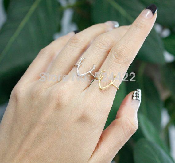 2016 Hot Selling Antler Anéis Animais para Mulheres Simples Liga Bonito chifre Anel Midi anel De Casamento em Ouro Prata Rose Gold JZ136