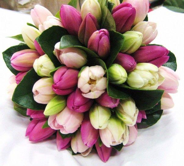 Bouquet sposa tulipani rosa e bianchi