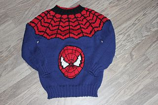 For the boys!  A Spiderman sweater in DK weight.