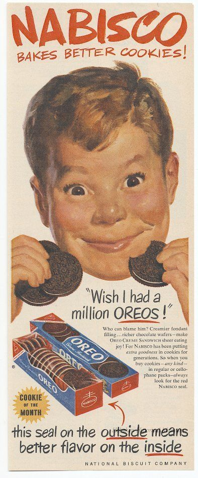 I've pinned this before but I really love Oreos so I'm going to pin it again!  Ad from 1952 from Hoboken Historical Museum.
