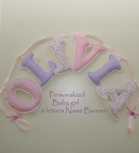 Fabric letter name banner 6 letters girl's by LittleFairyCottage, $40.00