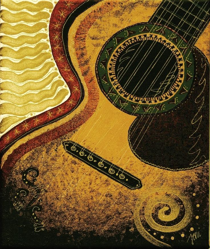 Acoustic Guitar Art Print By Joni James