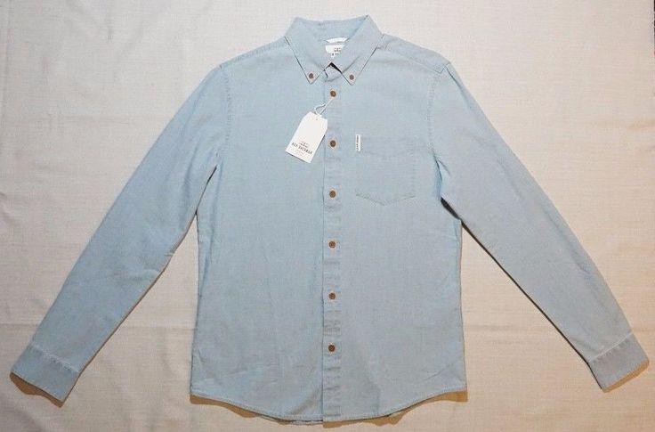 New Ben Sherman Men's Solid Denim Blue Casual Button Down Shirt [XS] 100% Cotton #BenSherman #ButtonFront