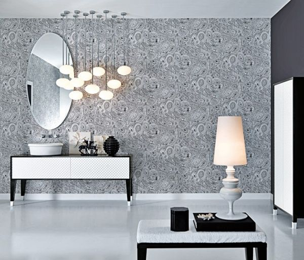 Gorgeous Textured Bathroom Furniture in Black and White from Falper