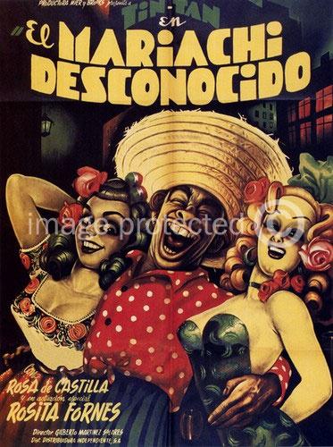 El Mariachi Desconocido Vintage Mexican Cinema Poster