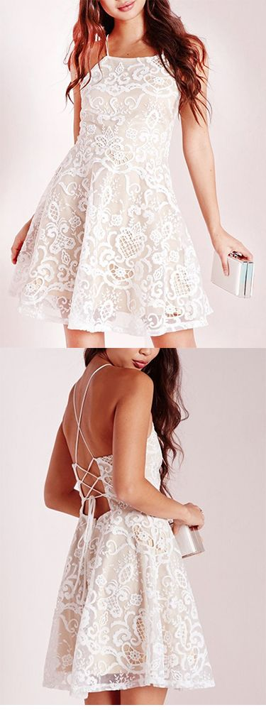 A-line Halter Prom Dress,Short White Criss-Cross Straps Lace Homecoming Dress With Pleats,Graduation Dress,Party Dress,Short/Mini Cocktail Dress,Homecoming Dress,GU678