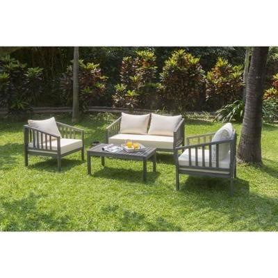 Salon de jardin 4 pièces en acacia FSC couleur ant | Garden ...